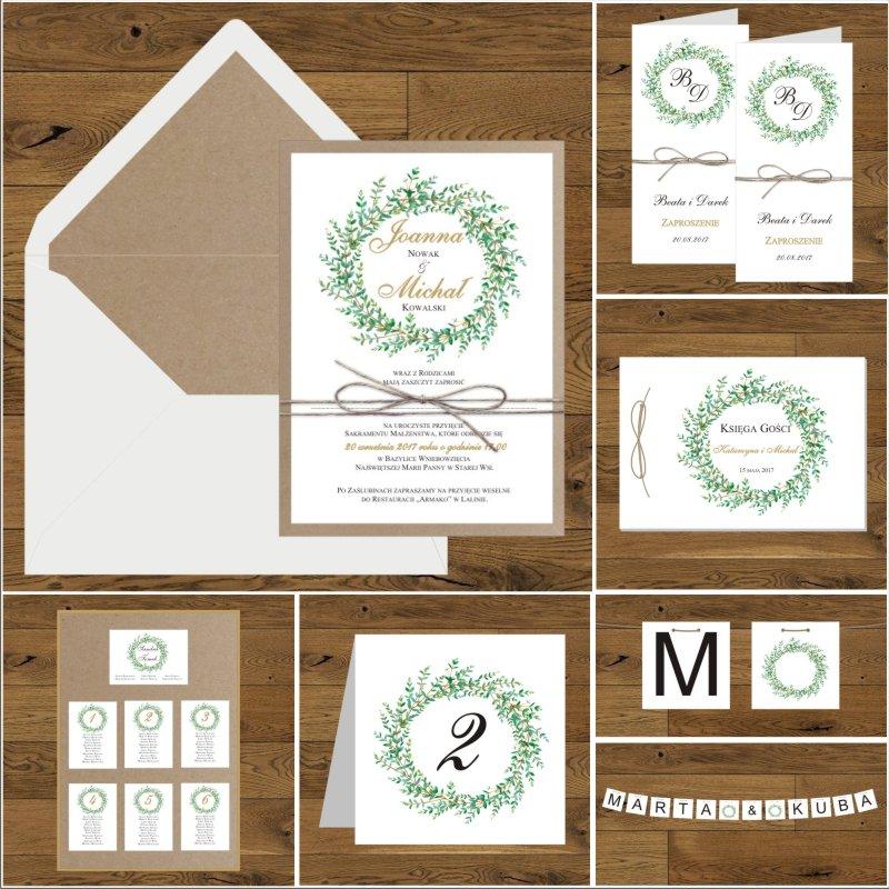 Zaproszenia ślubne Eko Z Zielonymi Gałązkami