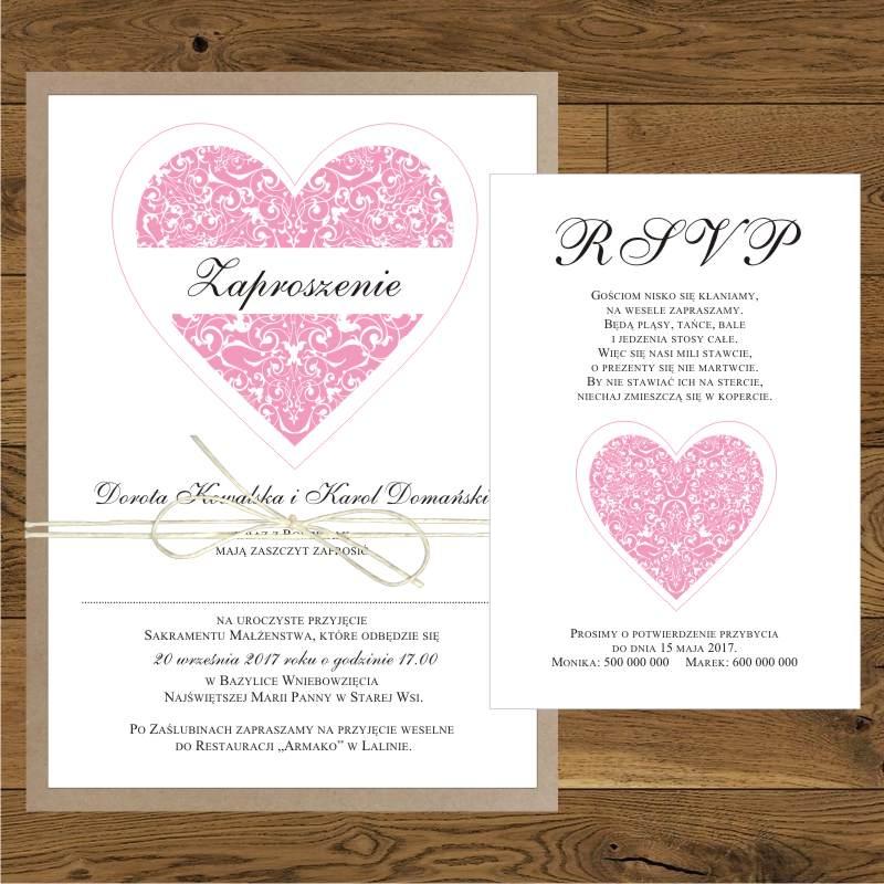 Zaproszenia ślubne Z Różowym Sercem