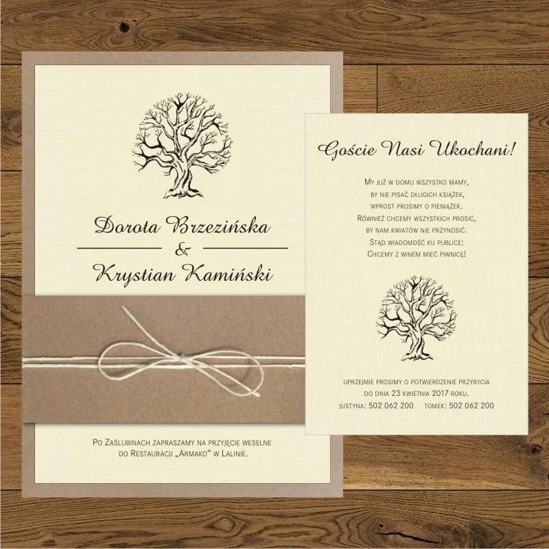 Zaproszenia ślubne Eko Z Drzewkiem